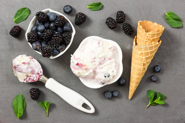 Fruit ice cream with fresh blackberry and blueberry and ice crea - Stock Photo - Images