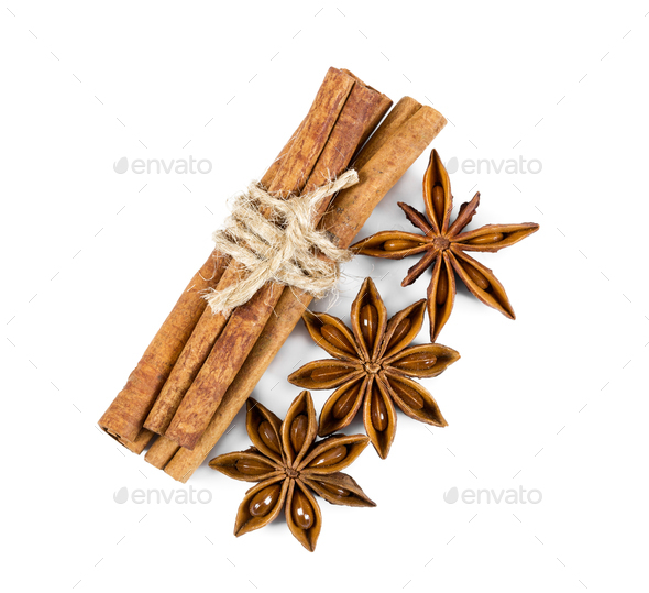 Cinnamon and star anise isolated on white background. - Stock Photo - Images