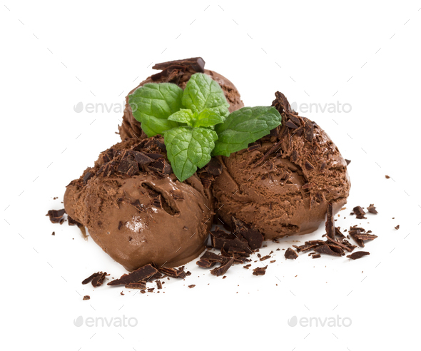 Three balls of chocolate ice cream with chocolate chips and fres - Stock Photo - Images
