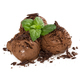 Three balls of chocolate ice cream with chocolate chips and fres - PhotoDune Item for Sale