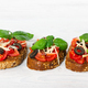 Bruschetta with fresh tomato, basil, cheese and olive - PhotoDune Item for Sale