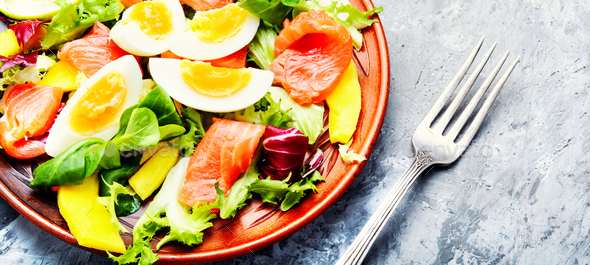 Lettuce salad with salmon - Stock Photo - Images
