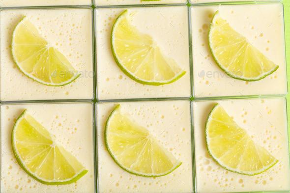 Delicious lemon panna cotta dessert. - Stock Photo - Images