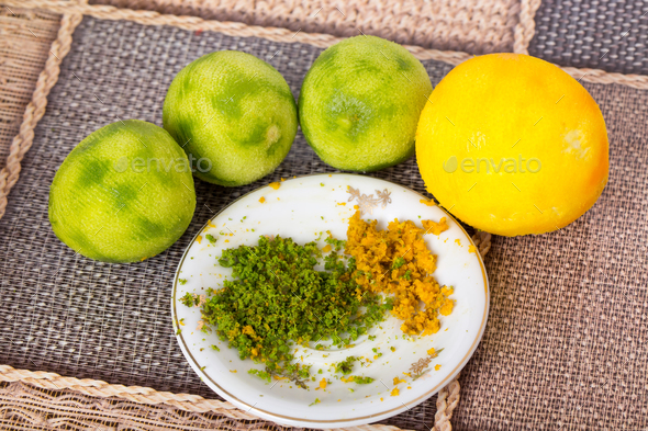 Peeled limes and fresh zest. - Stock Photo - Images