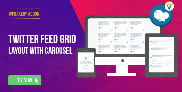 WPBakery Page Builder - Twitter Feed Grid With Carousel(formerly Visual Composer) - CodeCanyon Item for Sale