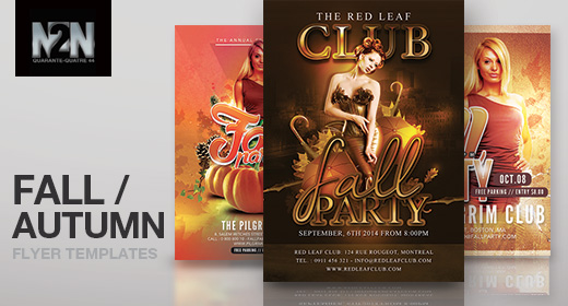 n2n44 fall and autumn flyer templates