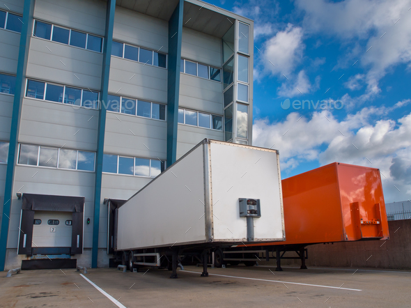 Distribution Center with Trailers - Stock Photo - Images