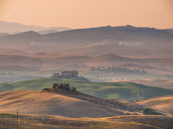 Tuscan Countryside with Hills and Villages - Stock Photo - Images