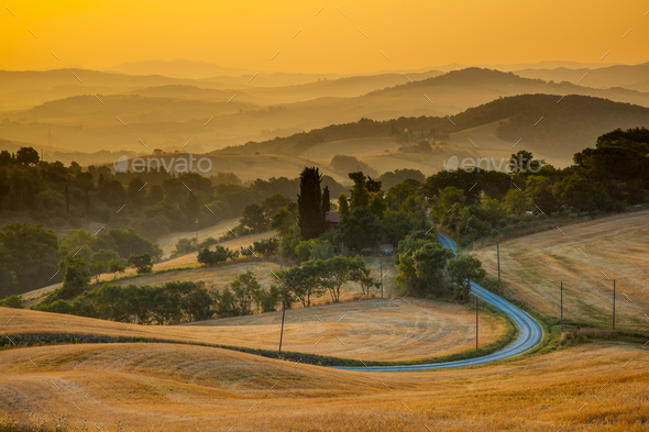 Tuscan Countryside View from Guardistallo - Stock Photo - Images