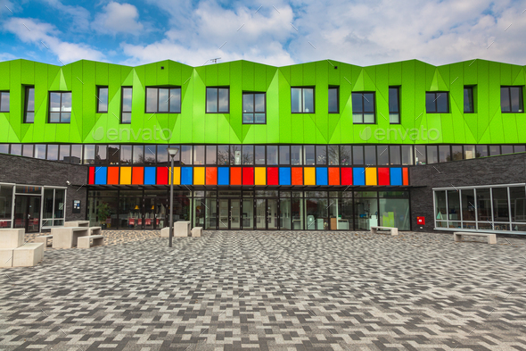 Contemporary school building - Stock Photo - Images