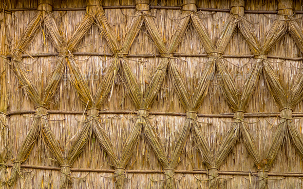 Intertwined Thatching of Reed on on a Cottage - Stock Photo - Images