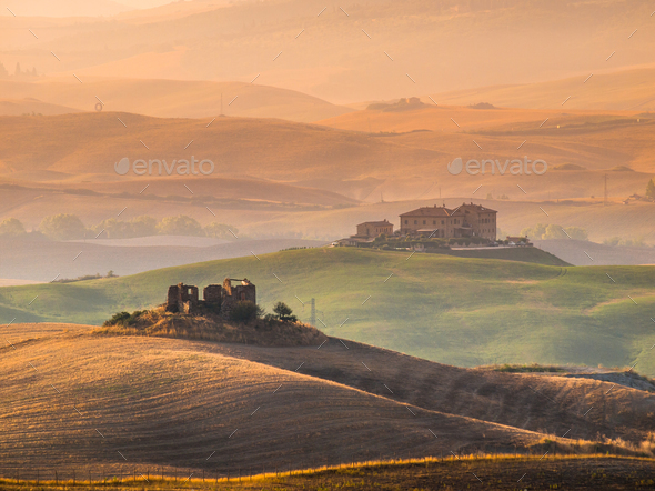Tuscany Countryside with Hills and Villas - Stock Photo - Images