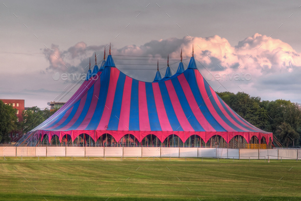 big top festival tent in red blue green - Stock Photo - Images