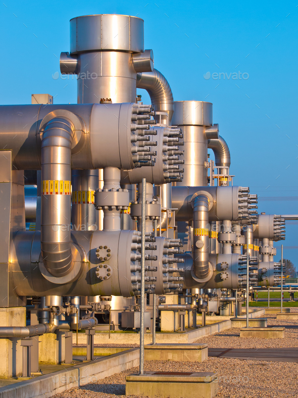 Detail of a modern natural gas processing plant in the Netherlan - Stock Photo - Images