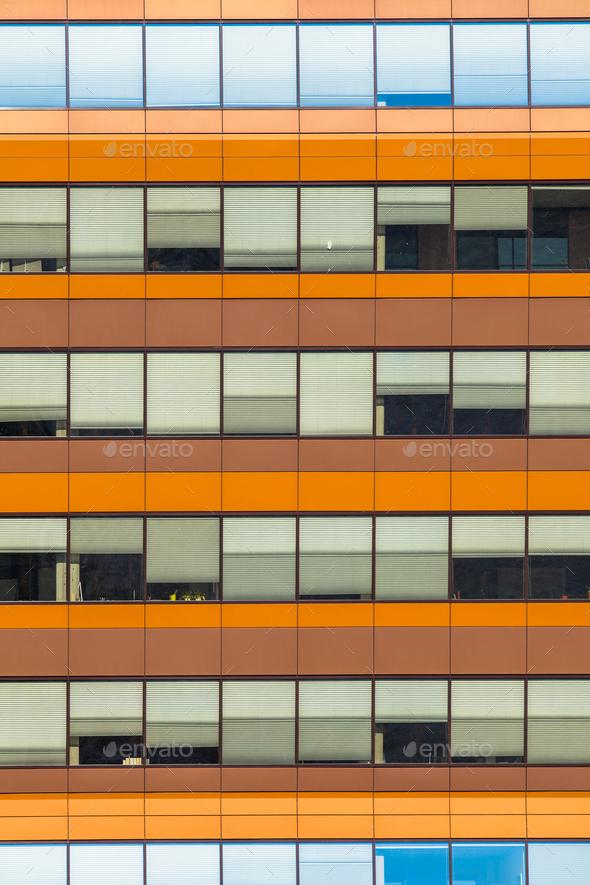 Blue and Orange Office Window Background - Stock Photo - Images