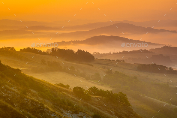 Tuscan Hills Scenery - Stock Photo - Images