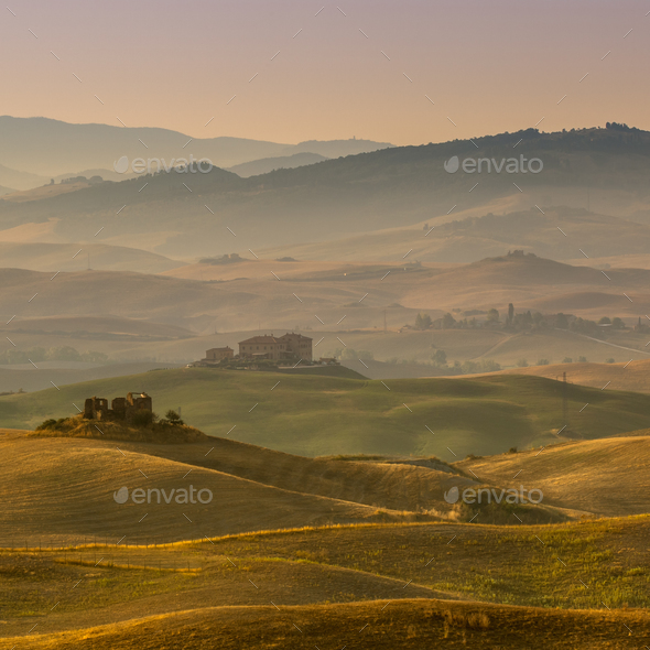 Tuscan Farmland with Villas and Villages at Dawn - Stock Photo - Images
