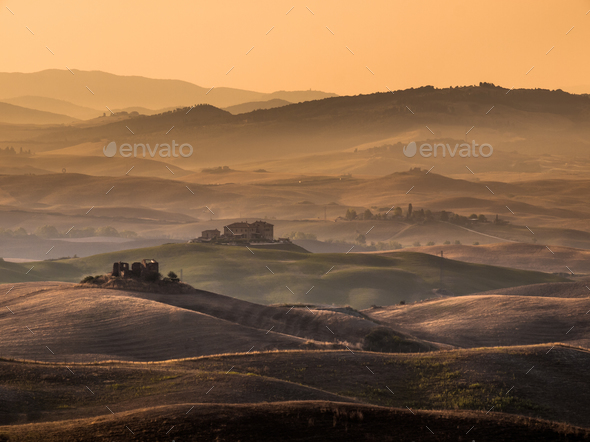 Tuscan Countryside with Hills and Farms - Stock Photo - Images