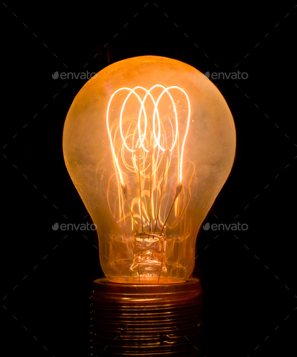 Vintage Old Light Bulb - Stock Photo - Images