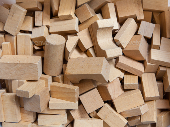 Construction Bricks of Wood - Stock Photo - Images