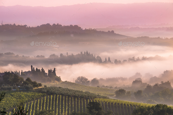 Tuscan Village Landscape in the morning - Stock Photo - Images