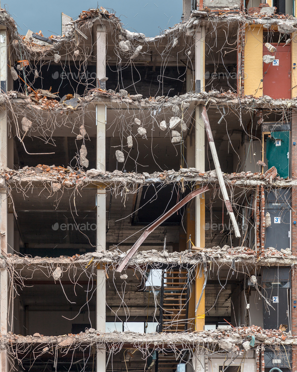 Demolition of a High rise Bulding - Stock Photo - Images