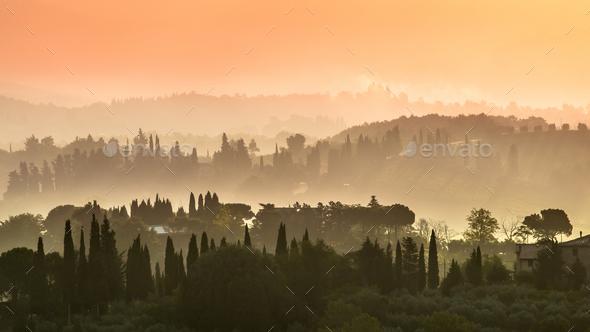 Tuscany Village Landscape - Stock Photo - Images