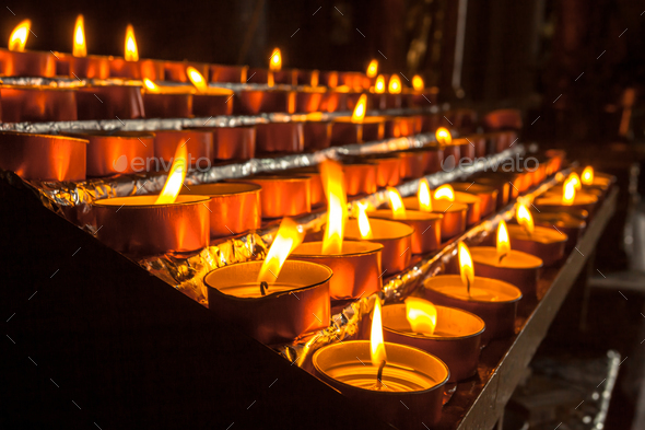 Group of Votive Candle in a Row - Stock Photo - Images