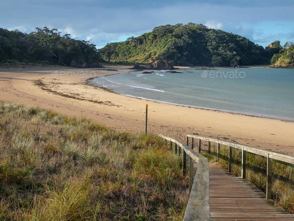 Pristine Beach at Matapouri Bay, New Zealand - Stock Photo - Images