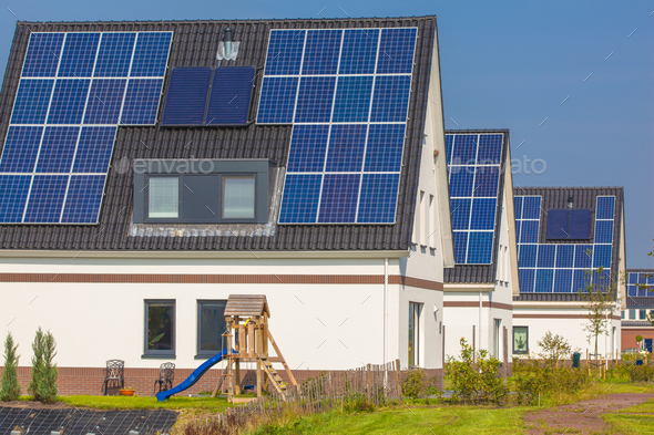 New Houses with Solar Panels in a Modern Street - Stock Photo - Images