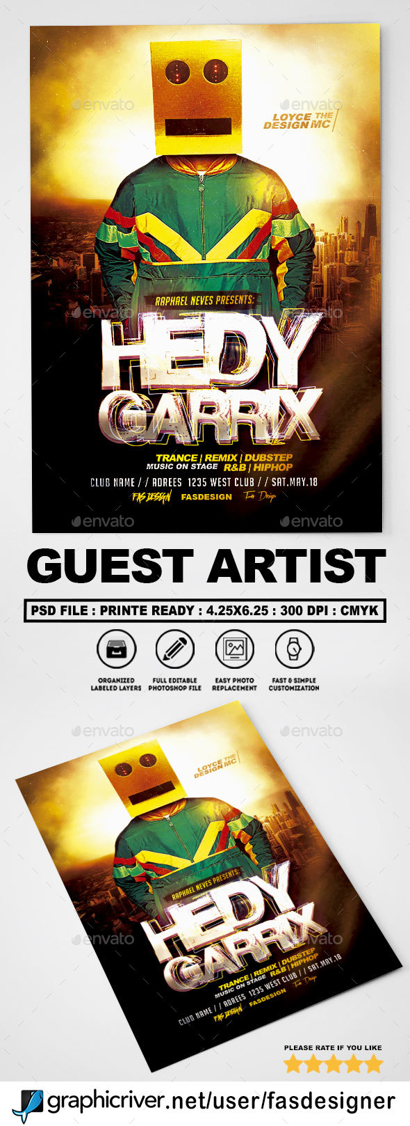 Guest Artist v2 Flyer - Clubs & Parties Events