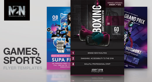 n2n44 games and sports flyer templates