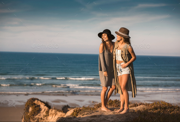 Beautiful girls on the beach - Stock Photo - Images