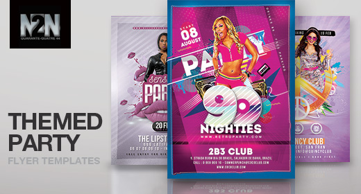 n2n44 themed party flyer templates