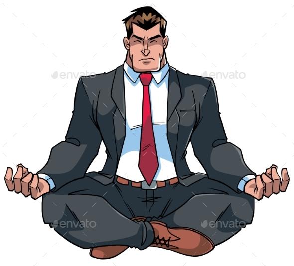 Businessman Meditating Illustration - People Characters