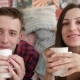 Young Couple Drink Coffee in Bed, Happy Smile Woman Man Lovers, Love Romantic Morning - VideoHive Item for Sale