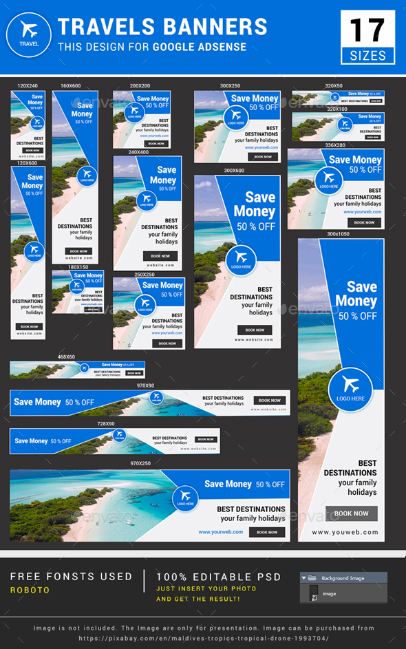 Travel Banner Ads - Banners & Ads Web Elements