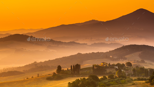 Tuscan Country during Sunrise, Italy - Stock Photo - Images
