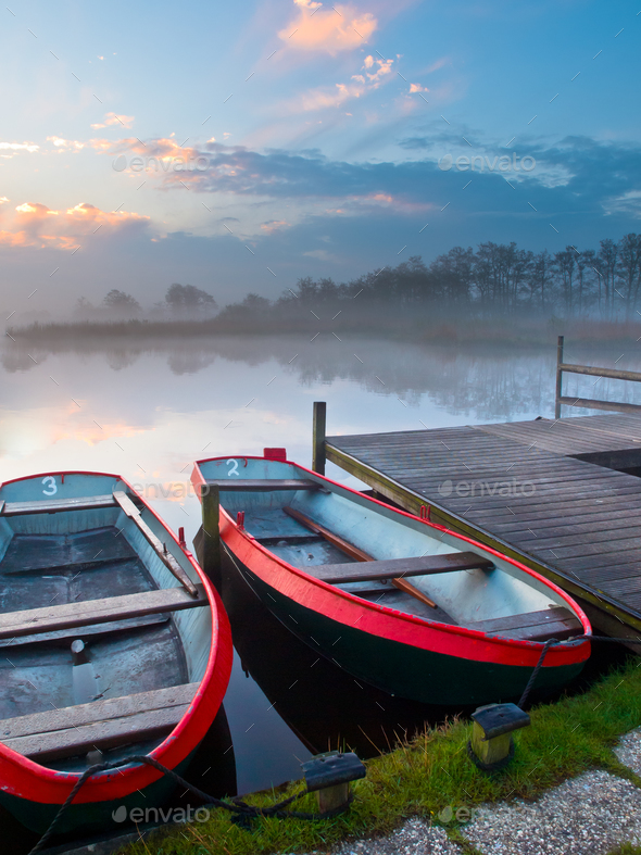 Moored rowing boats - Stock Photo - Images