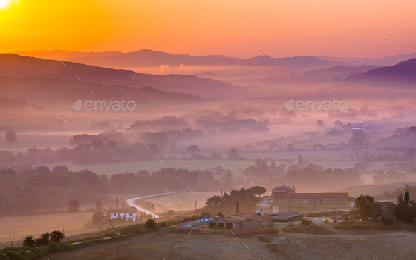 Tuscan Farm during Sunrise, Italy - Stock Photo - Images