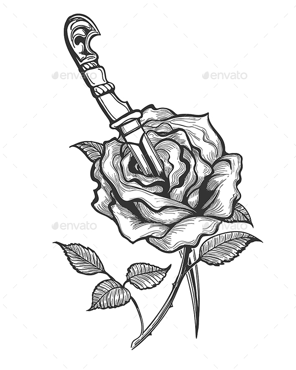 Rose Flower Pierced by Dagger Tattoo - Tattoos Vectors