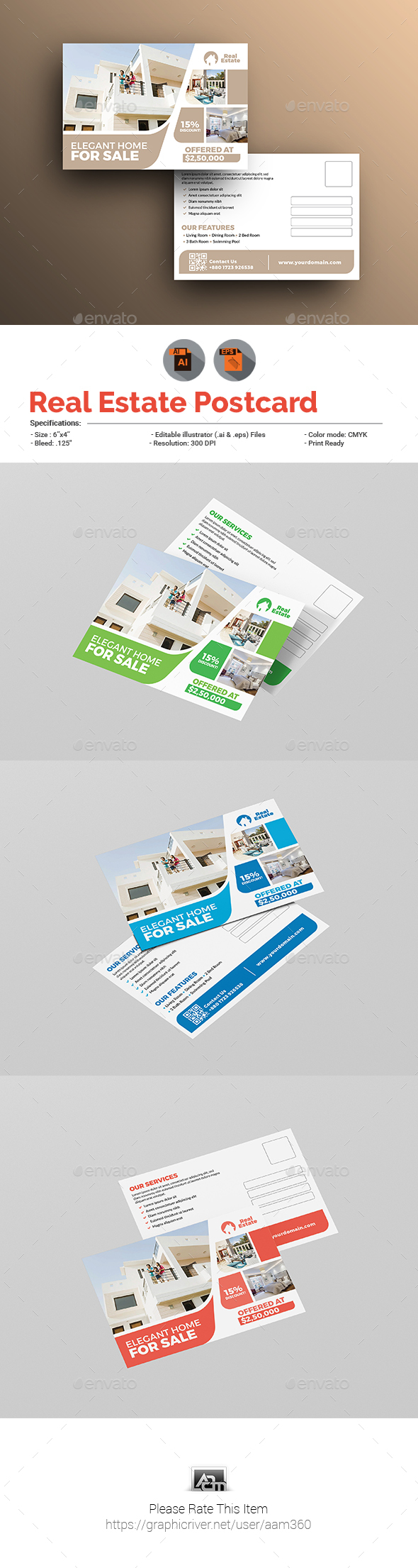 Real Estate Postcard Template by aam360 | GraphicRiver