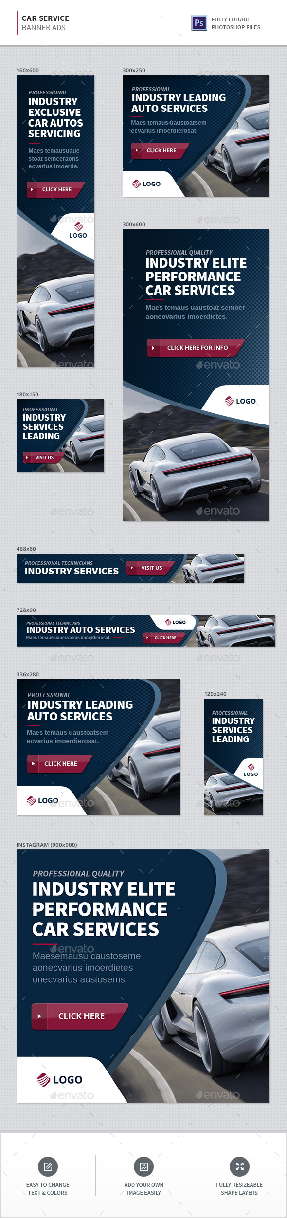 Car Service Banners - Banners & Ads Web Elements