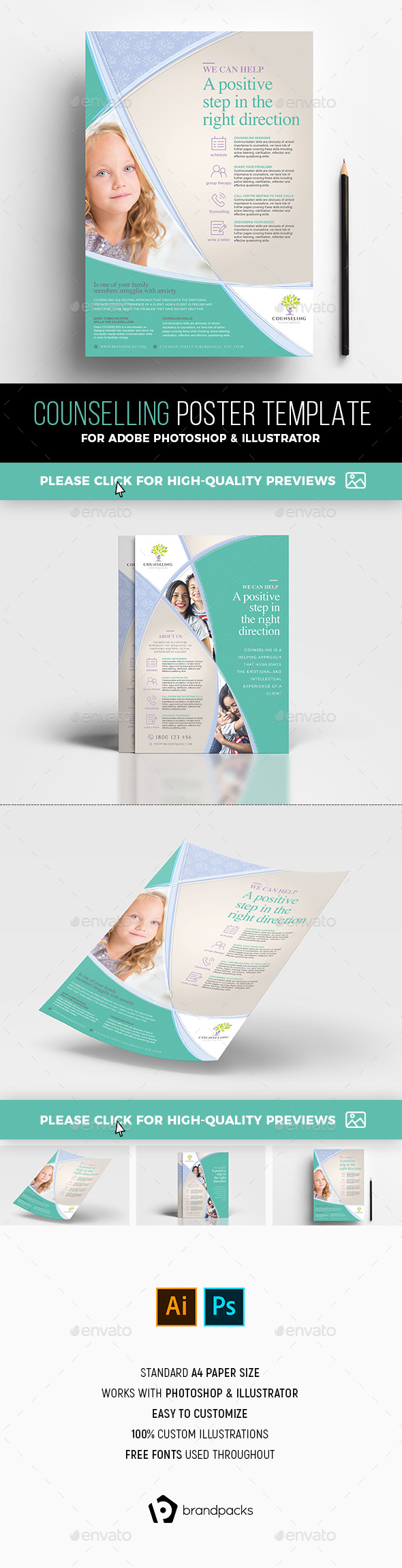 A4 Counselling Poster / Advertisement Templates - Corporate Flyers