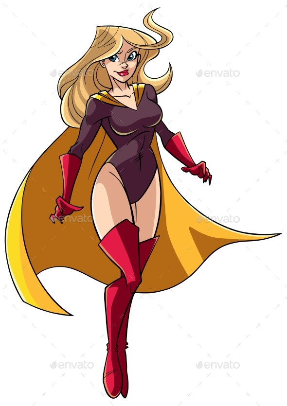Superheroine Flying 5 Illustration - People Characters