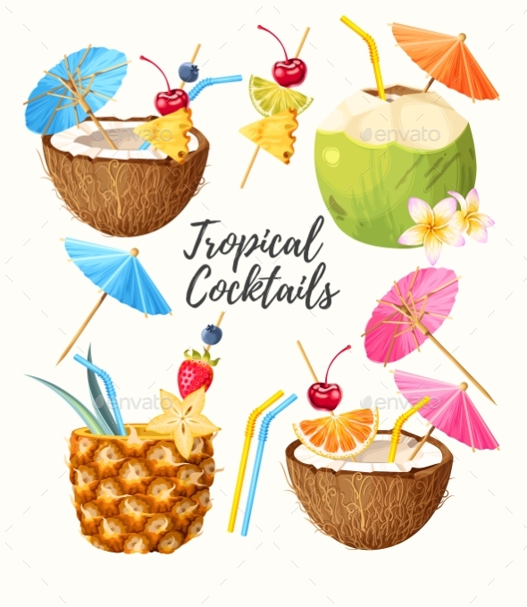 Set of Summer Cocktails - Food Objects