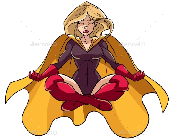 Superheroine Meditating Illustration - People Characters