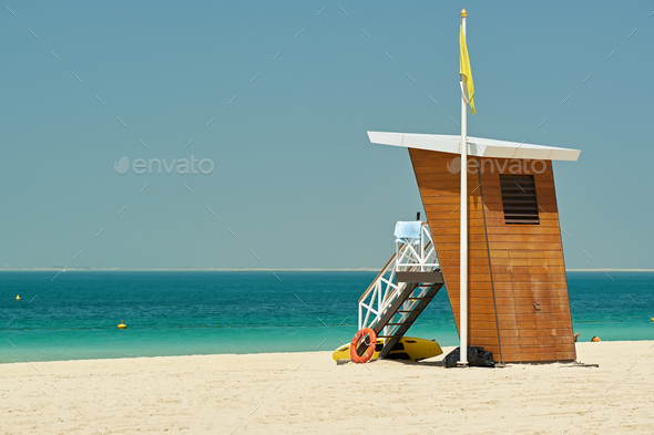Lifeguard tower on a beach - Stock Photo - Images