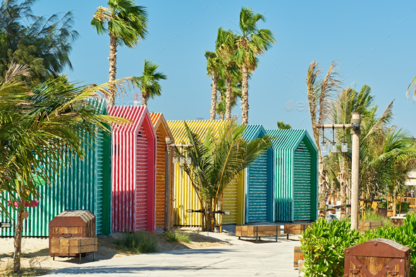 Colored beach bathing cabins in Dubai - Stock Photo - Images