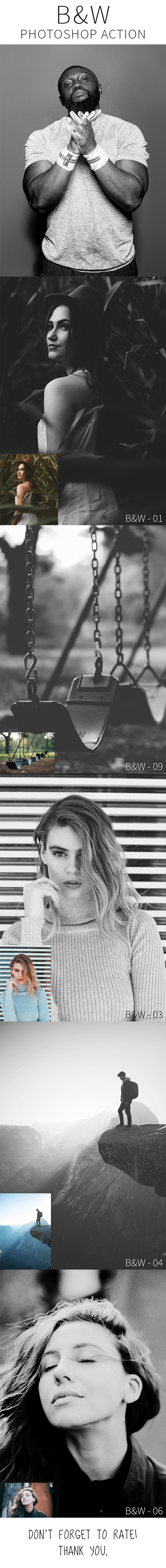 10 B&W Photoshop Action - Photo Effects Actions